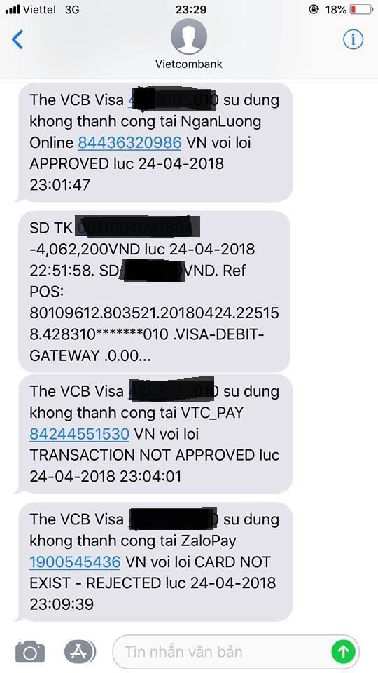 Tài khoản VCB (Vietcombank) bị trừ tiền. Ảnh: Nạn nhân cung cấp