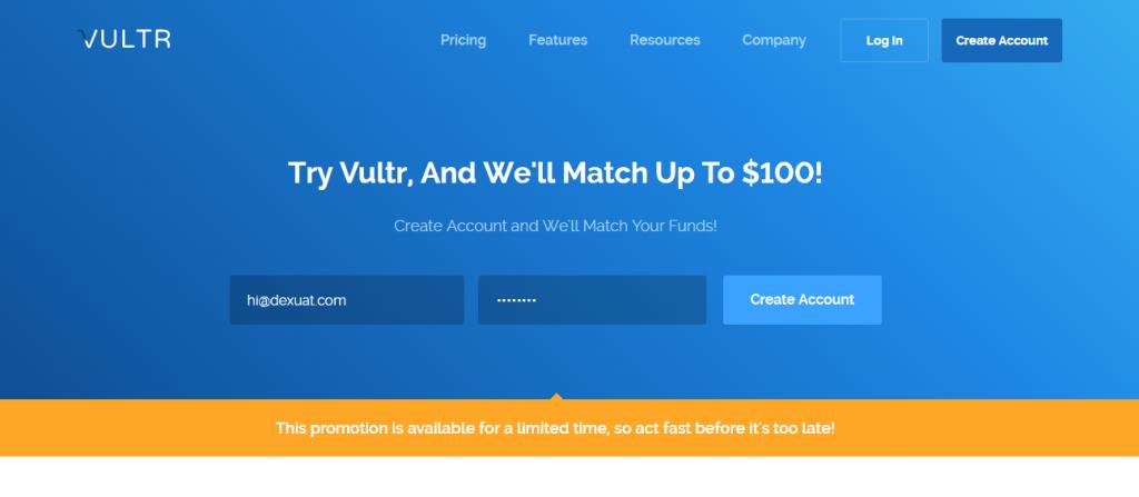 Nhận ngay 100 USD khi đăng ký VPS tại Vultr