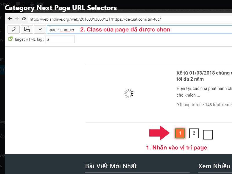Vị trí chọn trang trên Wayback Machine