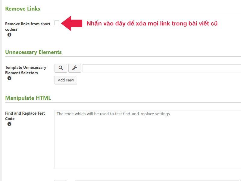 Chọn chức năng này để xóa bỏ toàn bộ URL trong bài viết