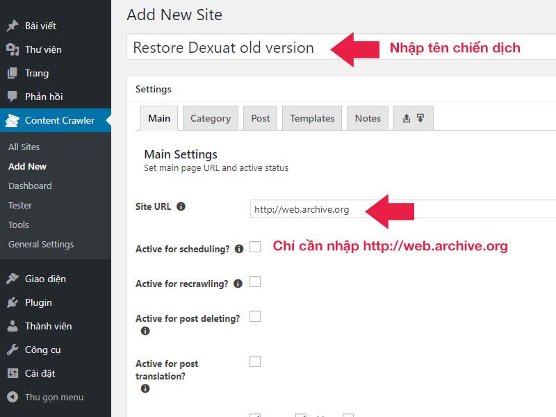 Thêm mới chiến dịch khôi phục website từ Wayback Machine