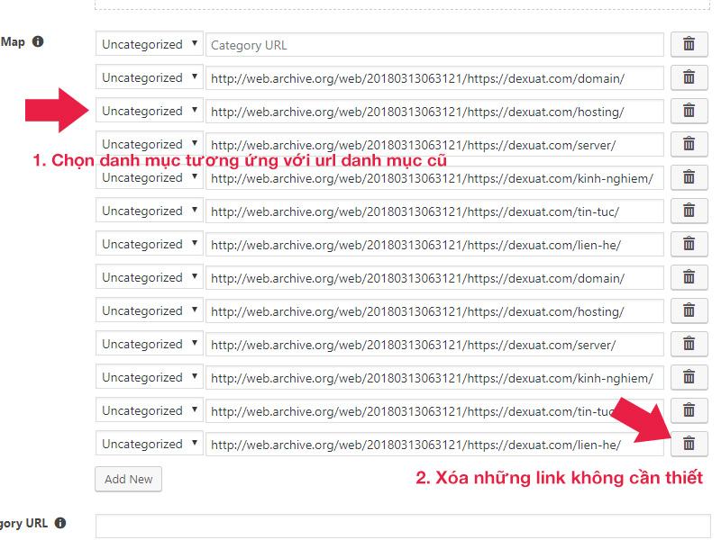 Lựa chọn danh mục tương ứng trong Wayback Machine