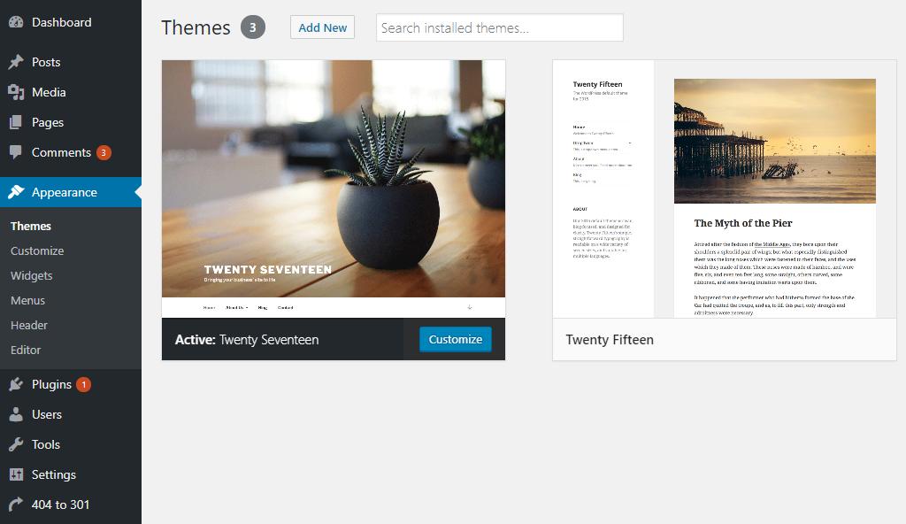 Theme không cần thiết của WordPress
