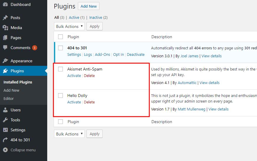 Xóa plugin không cần thiết của WordPress