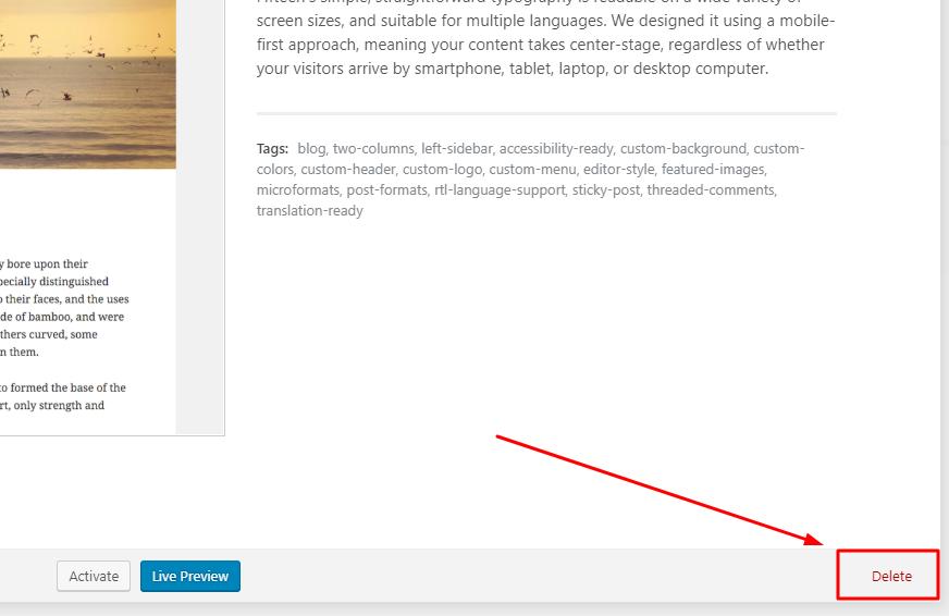 Xóa theme không cần thiết của WordPress