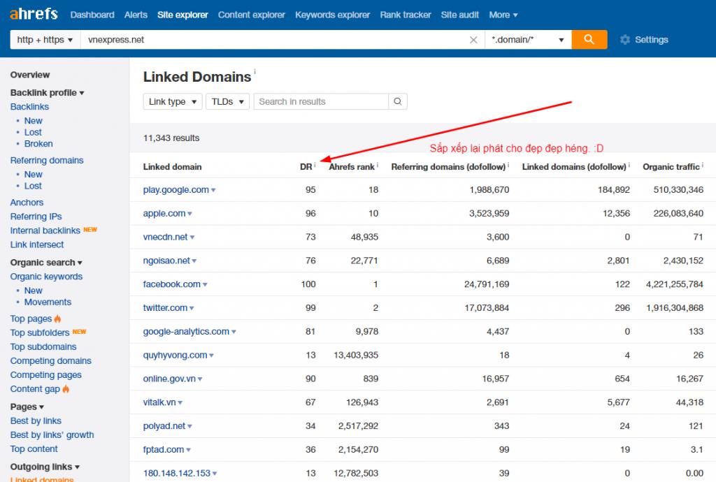 Sắp xếp lại danh sách domain cho dễ tìm